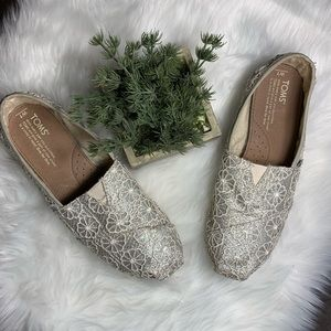 Tom's Silver Floral Metallic Shoes Size 7